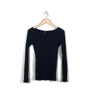 Free People Black Ribbed Long Sleeve